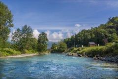 Gaf de rivier van DE Pau stock fotografie