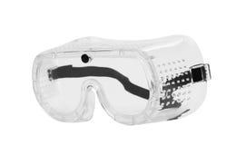 Gafas de seguridad claras aisladas en blanco Fotografía de archivo