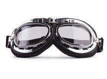 Gafas de seguridad de la motocicleta en el fondo blanco Imágenes de archivo libres de regalías