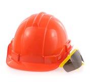 Gafas de seguridad del casco y Imagenes de archivo