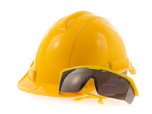 Gafas de seguridad del casco y Imagen de archivo libre de regalías