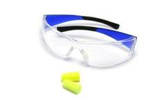 Gafas de seguridad y auriculares Fotos de archivo libres de regalías