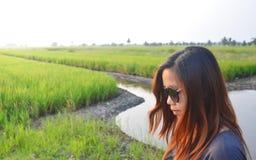 Gafas de sol asiáticas del desgaste de mujer que se colocan en campo de arroz en luz del sol de la mañana fotos de archivo