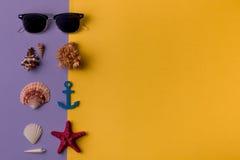 Gafas de sol compuestas con las conchas marinas Foto de archivo libre de regalías