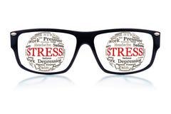 Gafas de sol con la tensión de palabra en lugar de los ojos Fotografía de archivo libre de regalías