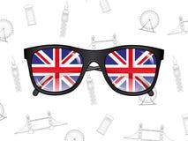 Gafas de sol con las banderas en el fondo Imágenes de archivo libres de regalías