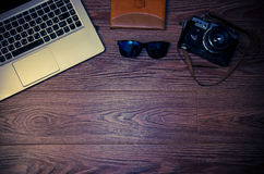 Gafas de sol de la cámara del ordenador portátil Imágenes de archivo libres de regalías