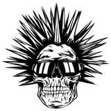 Gafas de sol del punky del cráneo ilustración del vector