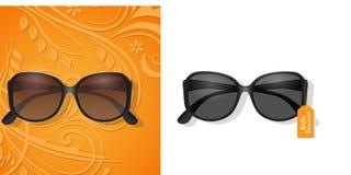 Gafas de sol del verano y fondo floral de los elementos stock de ilustración