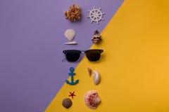 Gafas de sol dispuestas con las conchas marinas Foto de archivo