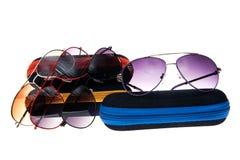 Gafas de sol elegantes con un caso Fotografía de archivo libre de regalías
