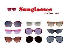 Gafas de sol fijadas en blanco Fotografía de archivo