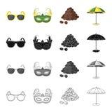 Gafas de sol, máscara del carnaval, café brasileño famoso, parasol de playa Iconos determinados de la colección del Brasil en neg stock de ilustración