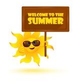 Gafas de sol que llevan del sol divertido de la historieta con la bandera Imagen de archivo