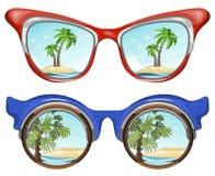 Gafas de sol que reflejan paisaje tropical y la palma en la isla arenosa stock de ilustración