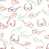 Gafas de sol retras inconsútiles en el fondo blanco stock de ilustración