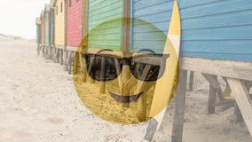 Gafas de sol sonrientes en la playa almacen de metraje de vídeo
