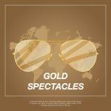 Gafas de sol tipo aviador del oro con el marco del oro Foto de archivo libre de regalías