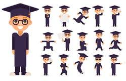 Gafas elegantes 3d del traje del uniforme del muchacho de Genius School Clever del diploma del casquillo de la graduación del cer Foto de archivo