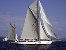 Gaff rigged yacht. Classic gaff rigged yacht waiting for the wind Royalty Free Stock Photos