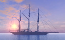 Gaff schooner at sunset Royalty Free Stock Photography