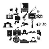 Gaffe icons set, simple style. Gaffe icons set. Simple set of 25 gaffe vector icons for web isolated on white background Stock Image