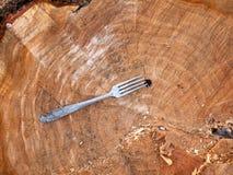 Gaffel i snittet av tr?det arkivbild