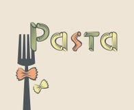 Gaffel med pasta Arkivfoton
