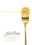 Gaffel med precis spagetti Royaltyfria Bilder
