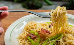 Gaffel med spagetti på den royaltyfri fotografi