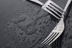 gaffel med waterdrop Royaltyfri Bild
