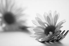 Gaffel och blommor royaltyfria bilder