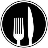 Gaffel- och knivsymbol royaltyfri illustrationer