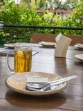 Gaffel och maträtt med öl Royaltyfri Bild