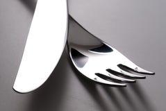 gaffelknivsilverware Royaltyfri Fotografi