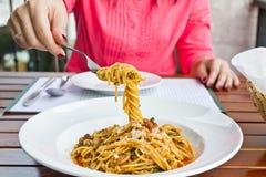 gaffelspagetti Royaltyfria Bilder