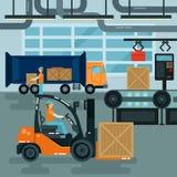 Gaffeltruck inom fabrik Lastbransch Tungt trans. stock illustrationer