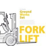 Gaffeltruck - svartvit tråduppsättning av medel för jordningsarbetsmaskiner med typografi Arkivbild