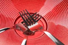 gafflar plate red Arkivfoto