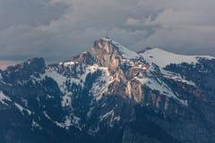 Gaflei, Vaduz, Liechtenstein - szaleje nad Hoher Kasten wierza od Gaflei panoramy wierza z chmurnymi Apenzell Alps zdjęcie royalty free