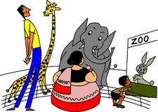 Gag Cartoon Illustration. A hilarious gag cartoon is illustrated in this project, demonstrating the similarity in personality between the animal and human stock illustration