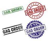 Grunge Textured GAG ORDER Seal Stamps. GAG ORDER seal prints with corroded style. Black, green,red,blue vector rubber prints of GAG ORDER title with corroded stock illustration