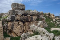 Gagantija Temple | front temple A. Huge Stones temple of Ggantija in island of Malta. Megalithic 3600 BC stock photos
