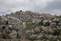 Gagantija Temple | Main temple B. Huge Stones temple of Ggantija in island of Malta. Megalithic 3600 BC royalty free stock photos