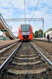Gagarin, Smolensk region, Russia - August 30,2018. Modern russian train Lastochka at the station of russian town Gagarin. Gagarin, Smolensk region, Russia stock photography