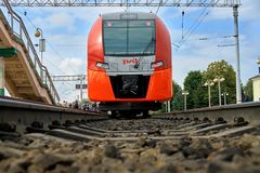Gagarin, Smolensk region, Russia - August 30,2018. Modern russian train Lastochka at the station of russian town Gagarin. Gagarin, Smolensk region, Russia stock photo