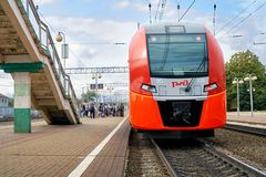 Gagarin, Smolensk region, Russia - August 30,2018. Modern russian train Lastochka at the station of small town Gagarin. Gagarin, Smolensk region, Russia - August stock images