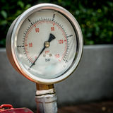 Gage show zero. Closeup Zero Water pressure gage royalty free stock photography