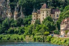 Gageac Francia del roque de de la mallantrie La del castillo francés Fotografía de archivo libre de regalías