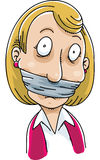 Gagged Woman. A cartoon woman with a gag over her mouth royalty free illustration